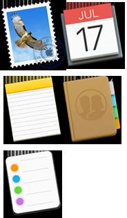 Mail-, Kalenterit-, Muistiinpanot-, Yhteystiedot- ja Muistutukset-kuvakkeet