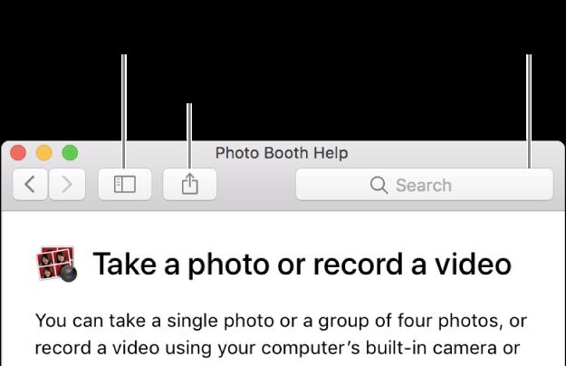 Ohjeikkuna, jossa näkyy työkalupalkin painike, jolla näytetään lisää aiheita, painike aiheen jakamiseen ja hakukenttä, jolla etsitään ohjeista Macilla.
