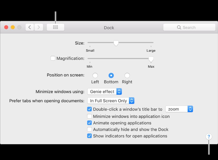 Cliquez sur Tout afficher pour afficher toutes les icônes de préférences. Cliquez sur le bouton représentant un point d'interrogation pour afficher l'aide associée à la sous-fenêtre.
