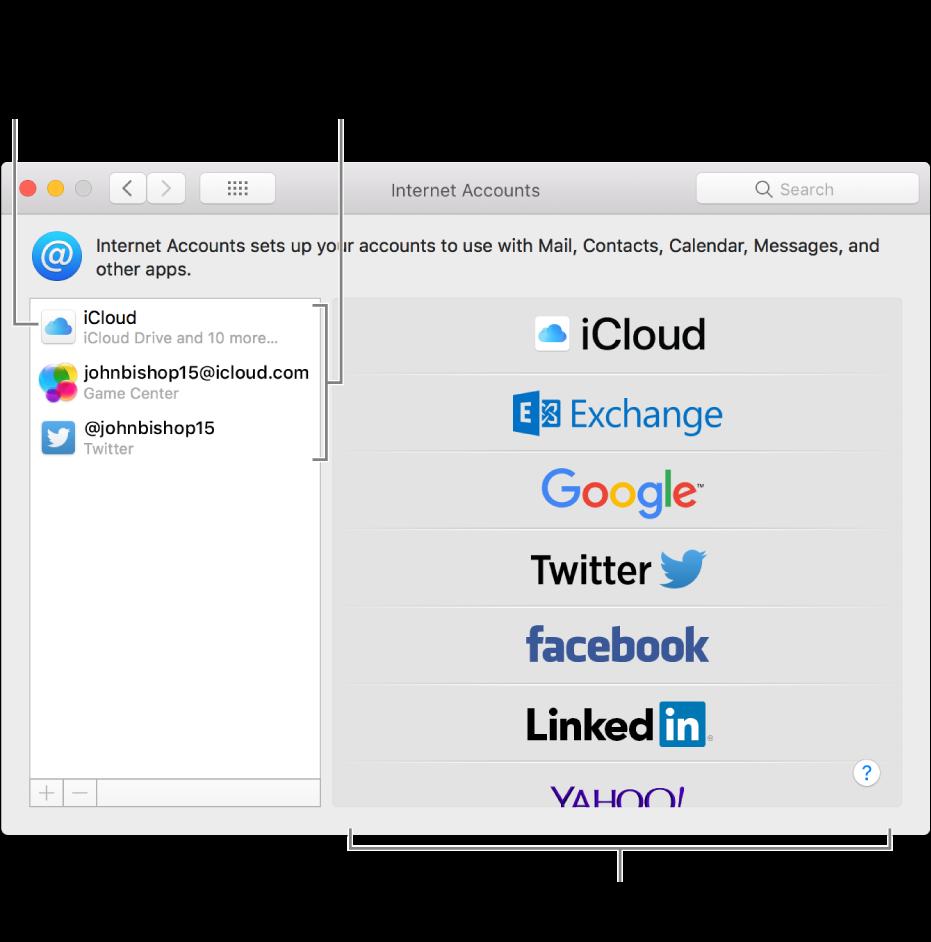 Préférences Comptes Internet avec des comptes iCloud et Twitter répertoriés à droite et les types de comptes disponibles, à gauche.
