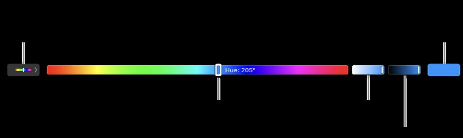 La TouchBar affichant les curseurs Teinte, Saturation et Luminosité du modèle TSL. Le bouton permettant d'afficher tous les profils se trouve à l'extrémité gauche. Celui permettant d'enregistrer une couleur personnalisée se trouve à droite.