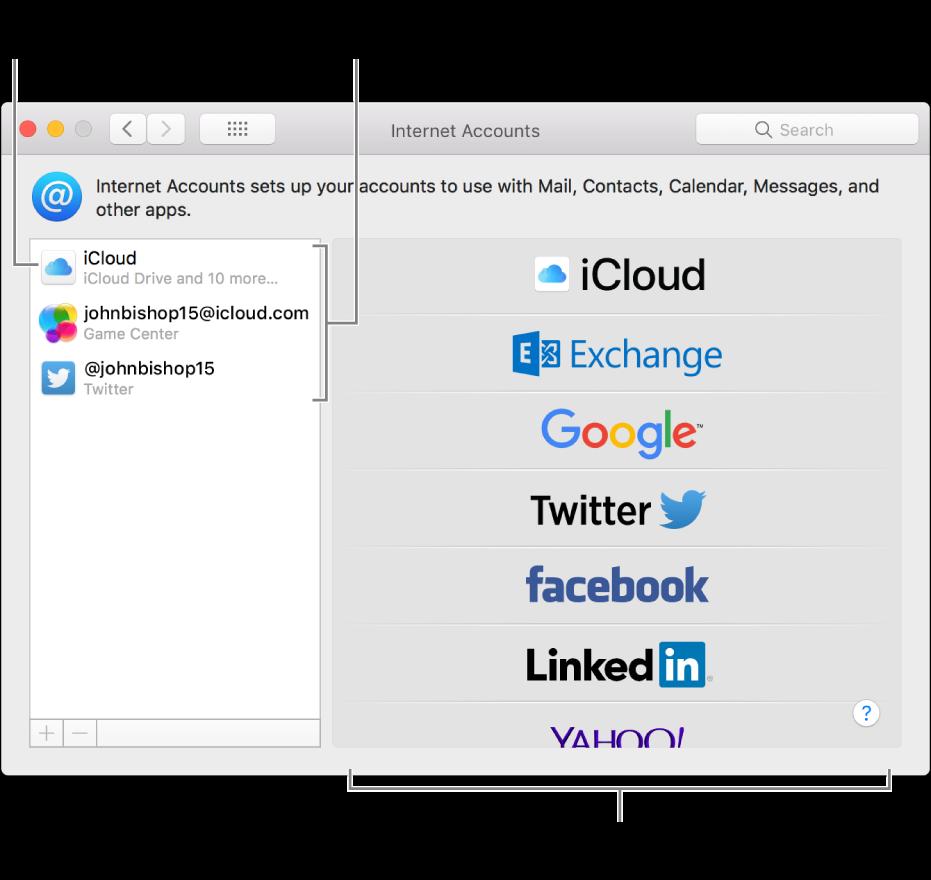 Postavke internetskih računa u kojem su iCloud i Twitter računi navedeni s desne strane, a dostupne vrste računa s lijeve strane.