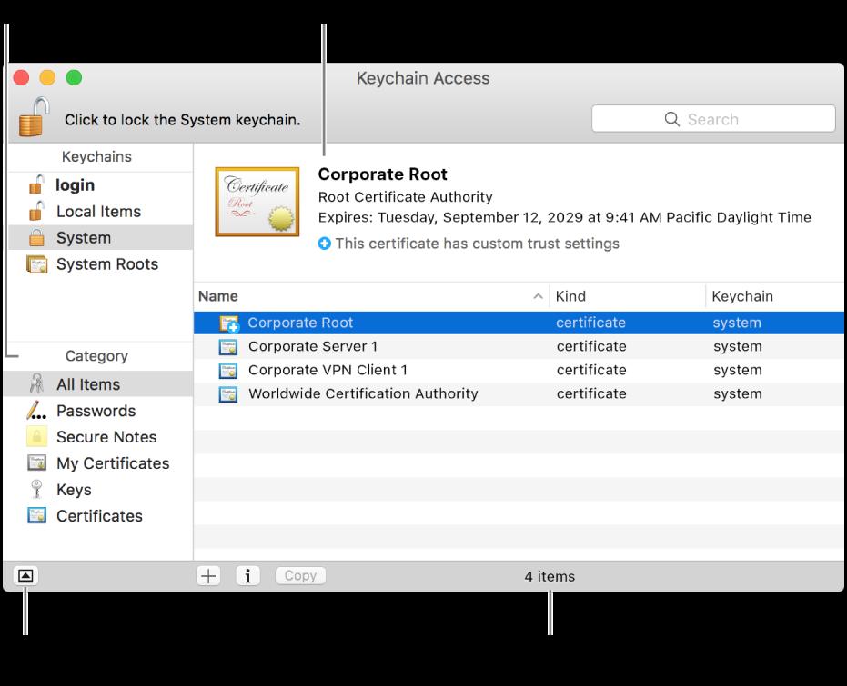 Glavna područja prozora Pristup privjesku ključeva: popis kategorija, popis stavki privjeska ključeva i opis stavki privjeska ključeva.