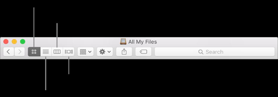 A Nézet gombok egy Finder-ablakban.