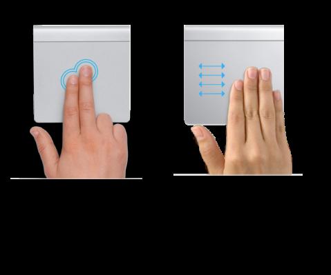 Példák a trackpad kézmozdulataira, amelyek weboldal nagyítására és kicsinyítésére, valamint teljes képernyős alkalmazások közti lépkedésre szolgálnak.
