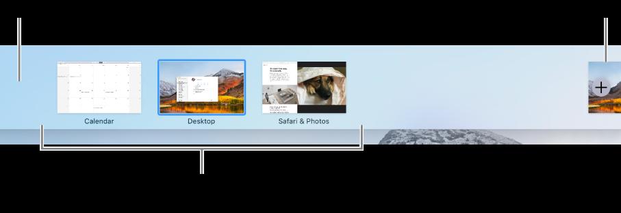 Az íróasztali munkaterületet mutató Spaces sáv, teljes képernyős és Split View nézetben lévő alkalmazások, valamint a Hozzáadás gomb munkaterület létrehozásához.