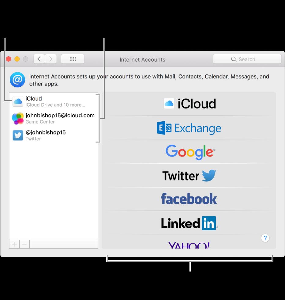 Az Internetes fiókok beállítások, ahol az iCloud- és Twitter-fiókok a jobb oldalon, az elérhető fióktípusok pedig a bal oldalon láthatók.