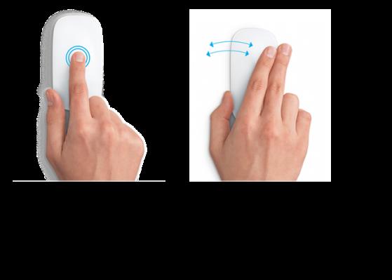 Példák az egér kézmozdulataira, amelyek weboldal nagyítására és kicsinyítésére, valamint teljes képernyős alkalmazások közti lépkedésre szolgálnak.