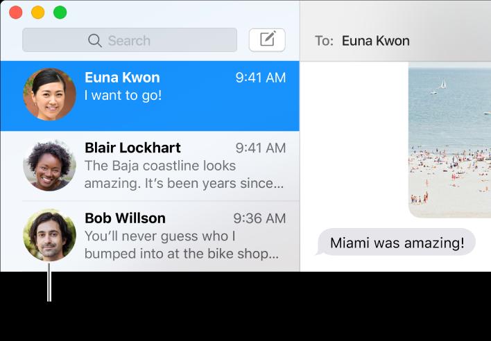 Az Üzenetek alkalmazás oldalsávja, melyen az emberek neve mellett képük látható.