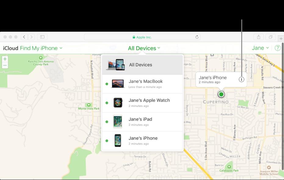 Az iPhone keresése funkció térképe az iCloud.com webhelyen, amely a Mac gép helyét jelzi.