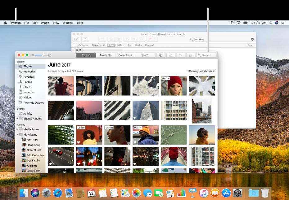Contoh desktop dengan beberapa jendela terbuka.