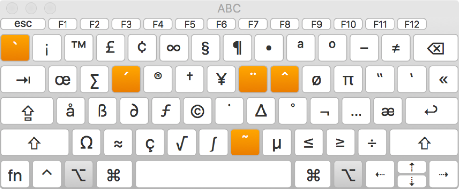 Penampil Papan Ketik dengan tata letak ABC, menampilkan lima tombol alternatif yang disorot.