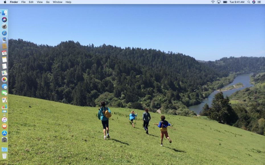 Contoh desktop dengan Dock diposisikan di tepi kiri layar dan gambar desktop khusus.