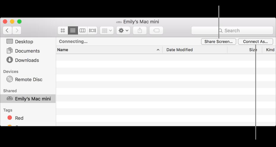 Bagian Bersama dari bar samping Finder dengan Mac dipilih.