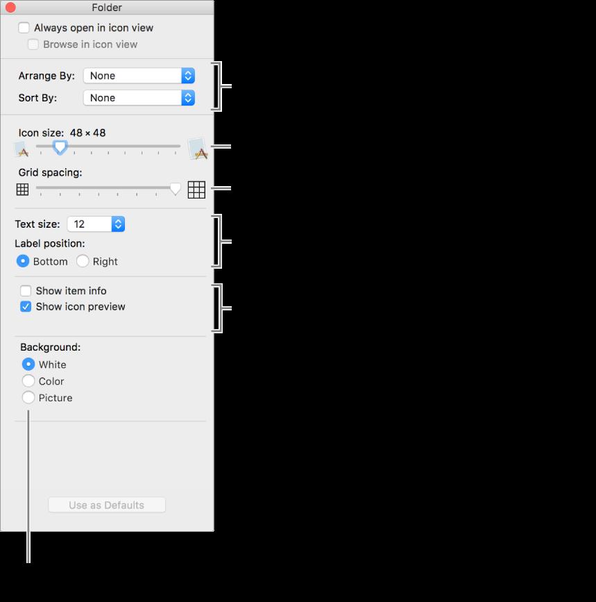 Jendela yang mencantumkan pilihan tampilan Ikon.