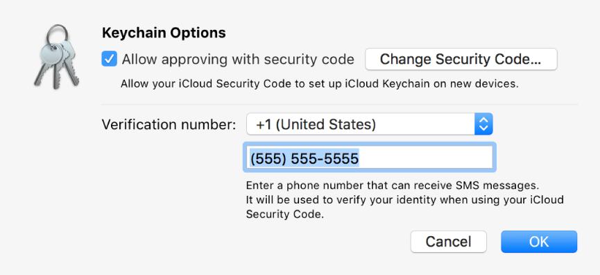 Dialog Pilihan Rantai Kunci iCloud dengan opsi dipilih untuk memungkinkan pemberian persetujuan dengan kode keamanan, tombol untuk mengubah kode keamanan, dan bidang untuk mengubah nomor verifikasi.