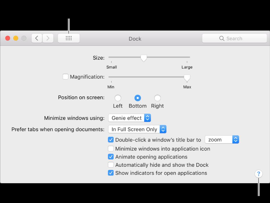 """Fai clic su """"Mostra tutte"""" per visualizzare tutte le icone delle preferenze. Fai clic sul punto di domanda per visualizzare l'aiuto per il relativo pannello."""