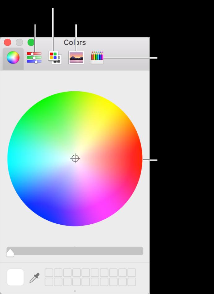 La finestra Colori mostra i pulsanti dei cursori colore, delle tavolozze colori, delle tavolozze immagini e delle matite sulla barra degli strumenti e sulla Ruota colori.