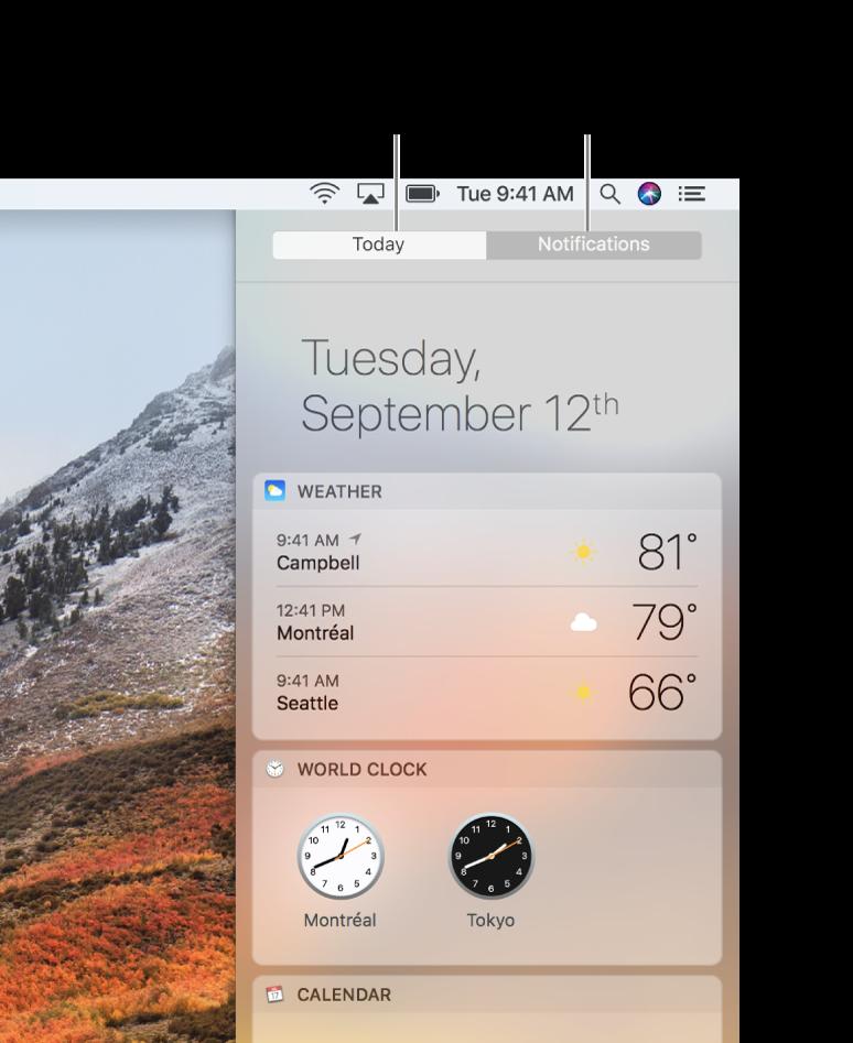 Vista Oggi che mostra le previsioni meteo e le ore locali. Fai clic sul pannello Notifiche per visualizzare le notifiche mancanti.