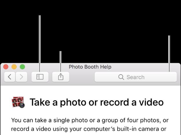 Una finestra Aiuto che mostra il pulsante nella barra degli strumenti su cui fare clic per mostrare più argomenti, il pulsante per condividere un argomento e il campo di ricerca per cercare aiuto sul Mac.