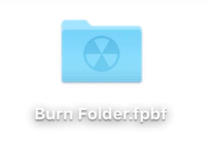 デスクトップ上のディスク作成フォルダ
