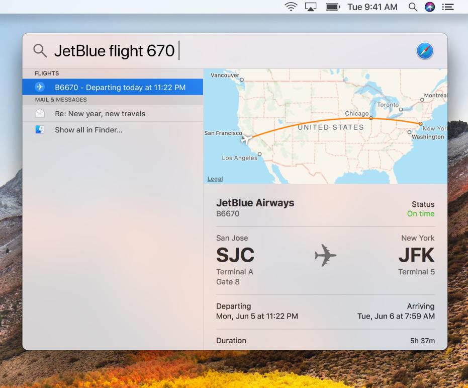 Spotlight ウインドウ。フライト状況の検索結果が表示されています。
