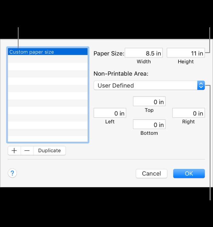 「追加」ボタンをクリックして新しい用紙サイズを追加します。カスタム用紙サイズの名前を変更するには、名前をダブルクリックして、新しい名前を入力します。ポップアップメニューからプリンタを選択して標準の余白を使用するか、下部のフィールドにカスタム値を入力します。