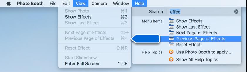 「Photo Booth ヘルプ」メニュー。選択したメニュー項目の検索結果が選択され、矢印がアプリケーションメニュー内の項目を示しています。