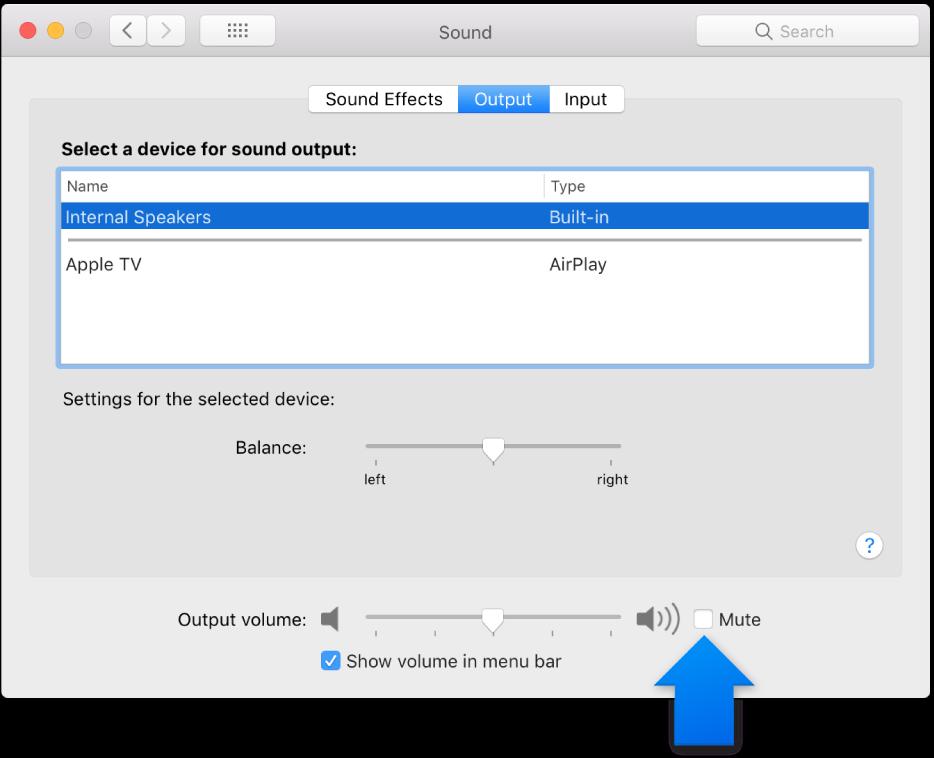 「サウンド」環境設定パネルの下部にある「消音」チェックボックス。