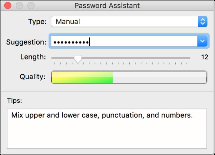 「パスワードアシスタント」ウインドウ。パスワードを作成するオプションが表示されています。