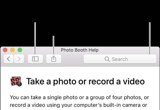 「ヘルプ」ウインドウ。ツールバーに、ほかのトピックを表示するボタン、トピックを共有するボタン、および Mac 内のヘルプを検索する検索フィールドが表示されています。