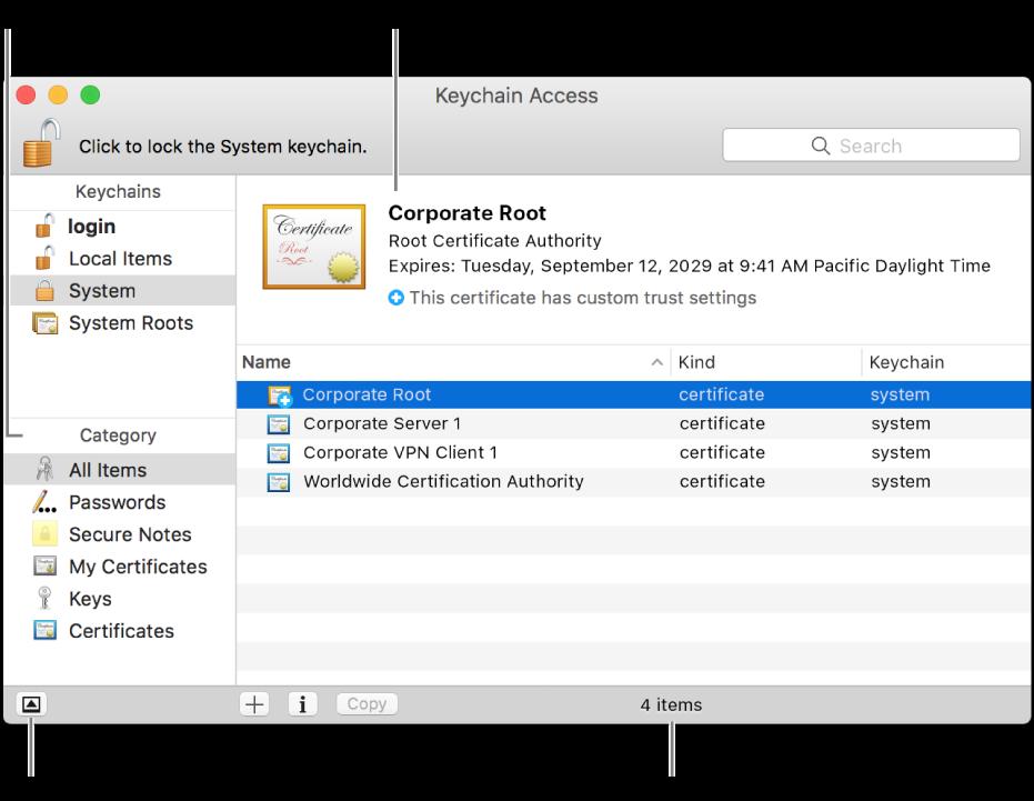 키체인 접근 윈도우의 주 영역: 카테고리 목록, 키체인 항목의 목록 및 키체인 항목 설명