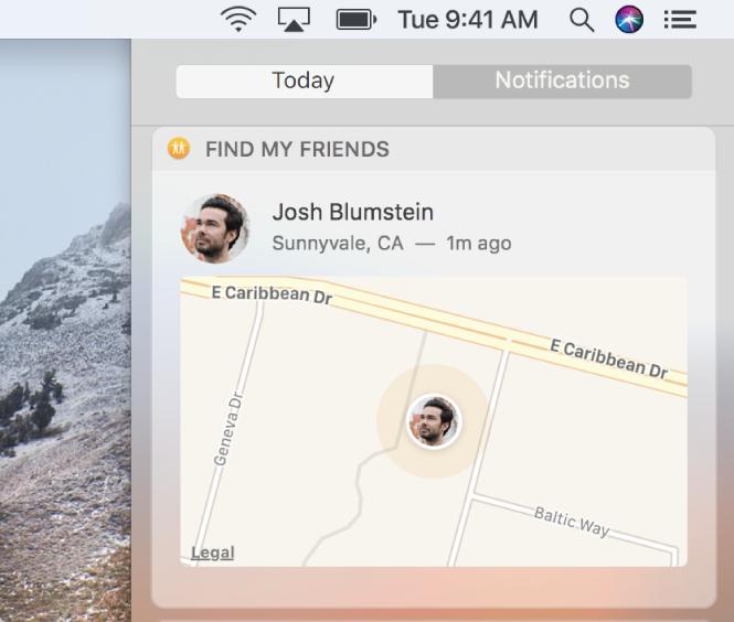 지도에서 친구의 위치를 표시하는 알림 센터의 오늘 보기에 있는 나의 친구 찾기 위젯.