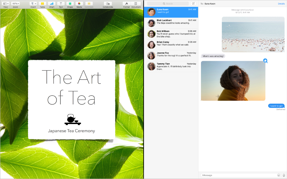 Split View로 나란히 놓여 있는 두 개의 앱.