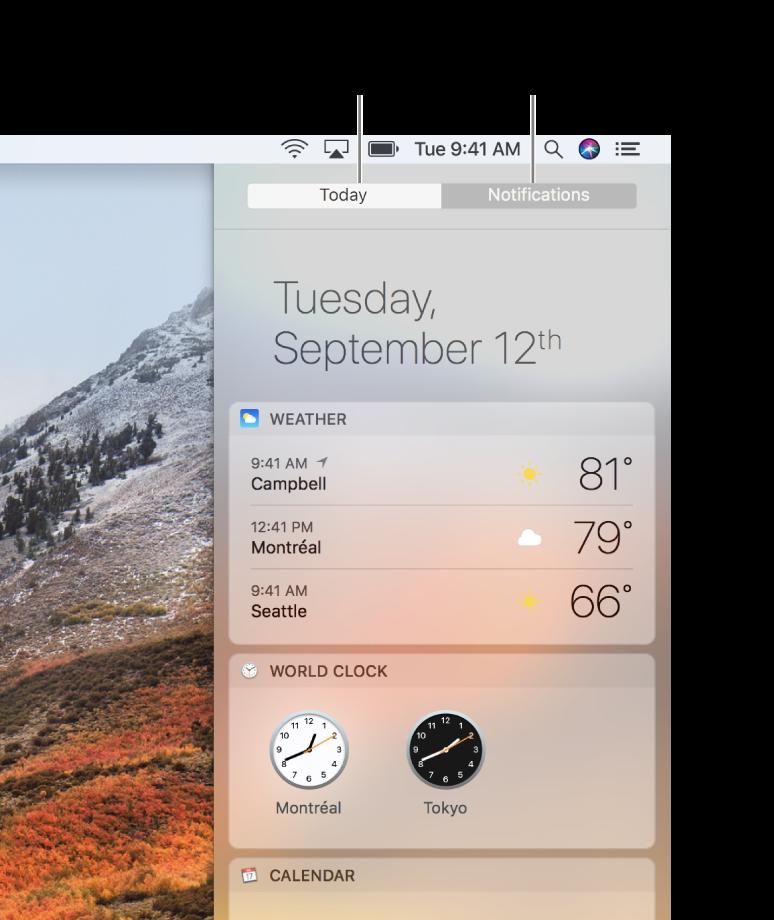 날씨와 세계 시계를 표시하는 오늘 보기. 클릭하여 놓친 알림을 볼 수 있는 알림 탭.