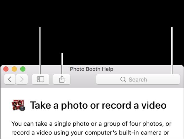 Een helpvenster met de knop in de knoppenbalk waarmee je meer onderwerpen weergeeft, de knop waarmee je een onderwerp deelt en het zoekveld waarmee je helpinformatie op de Mac zoekt.