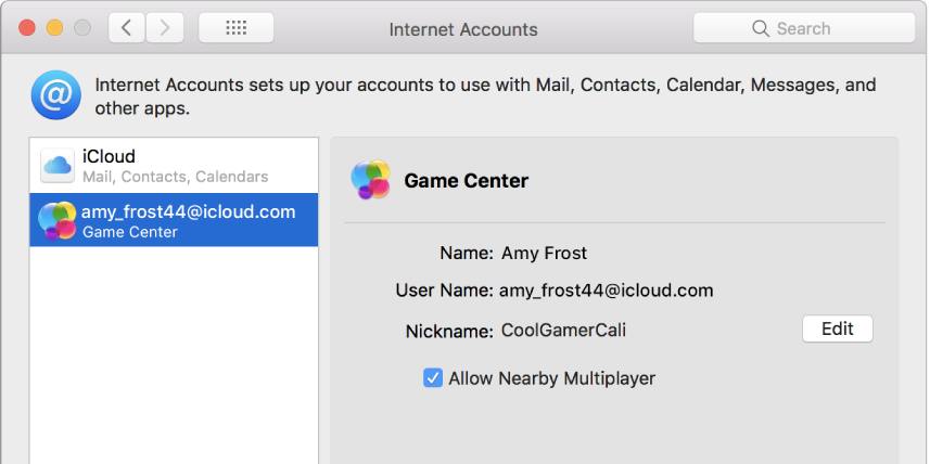 Een Game Center-account in 'Internetaccounts'.