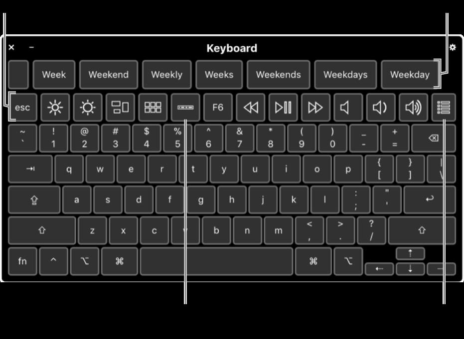 Het toegankelijkheidstoetsenbord met typesuggesties bovenaan. Onderaan staat een rij knoppen voor systeemregelaars waarmee je bijvoorbeeld de helderheid van het scherm kunt aanpassen en de TouchBar op het scherm en aangepaste panelen kunt weergeven.