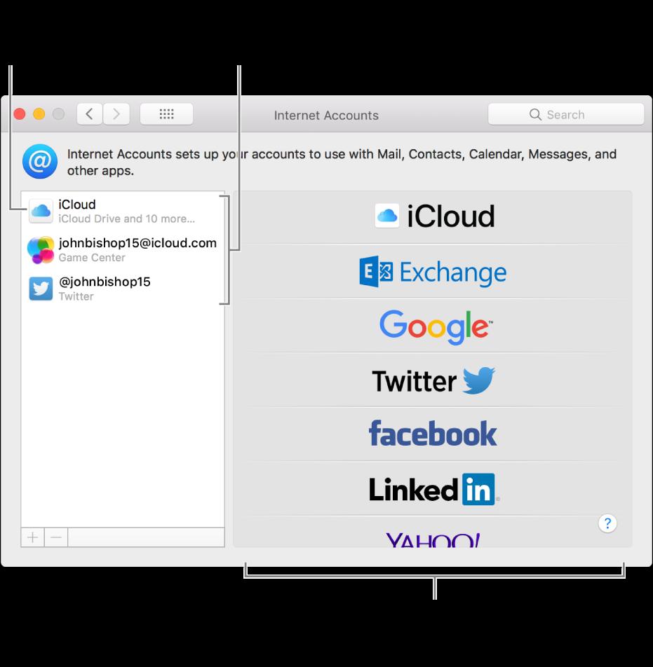 Het paneel 'Internetaccounts' in Systeemvoorkeuren, met iCloud- en Twitter-accounts aan de rechterkant en beschikbare accounttypen aan de linkerkant.
