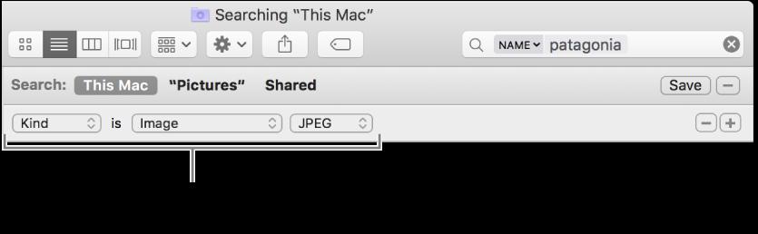 Een Finder-venster met velden voor het opgeven van zoekcriteria.