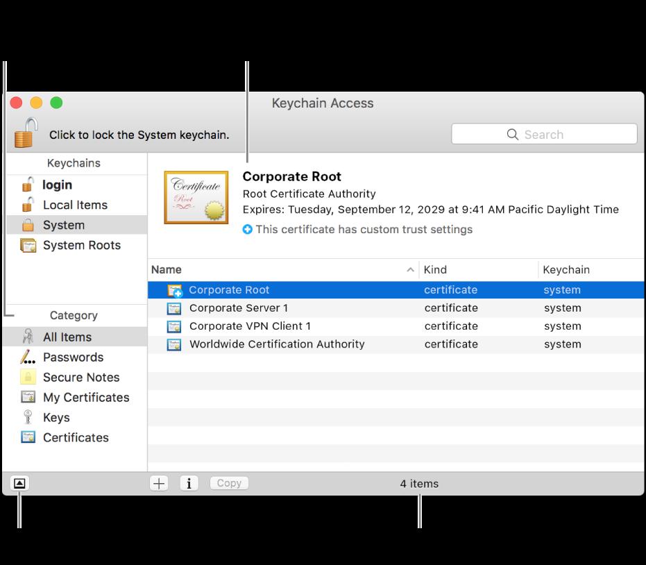 De hoofdgedeelten van het venster 'Sleutelhangertoegang': de lijst met categorieën, de lijst met sleutelhangeronderdelen en een beschrijving van de sleutelhangeronderdelen.