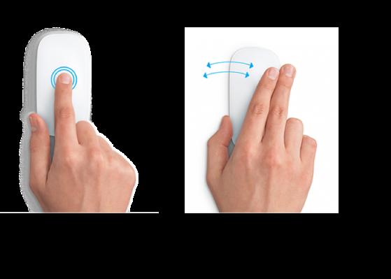 Eksempler på musebevegelser for å zoome inn og ut på et nettside eller navigere mellom programmer i fullskjerm.