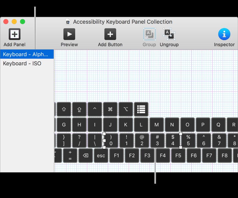 En del av et panelsamling-vindu som viser en liste over tilpassede paneler til venstre, og knapper og grupper i et tastatur-panel til høyre.