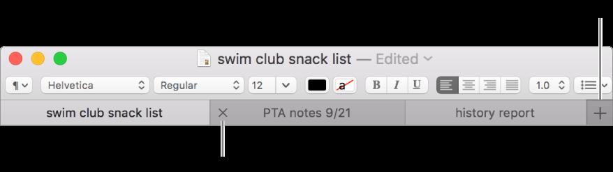 Et TextEdit-vindu med tre faner i fanelinjen, liggende under formateringslinjen. En fane viser Lukk-knappen. Legg til-knappen ligger helt til høyre på fanelinjen.