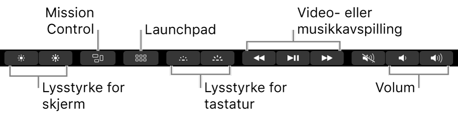 Knapper i Control Strip, som er utvidet, inkluderer, fra venstre mot høyre, skjermlysstyrke, Mission Control, Launchpad, tastaturbelysning, video- aller musikkavspilling og volum.