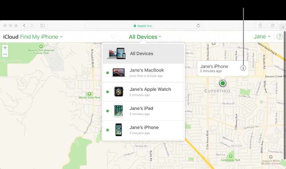 Witryna iCloud.com zmapą waplikacji Znajdź mój iPhone, pokazującą położenie Maca.