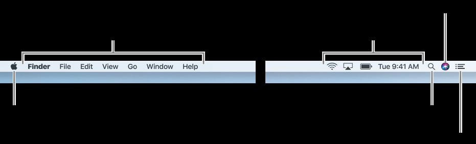 Pasek menu. Po lewej znajduje się menu Apple oraz menu aplikacji. Po prawej umieszczone są menu statusu oraz ikony Spotlight, Siri icentrum powiadomień.