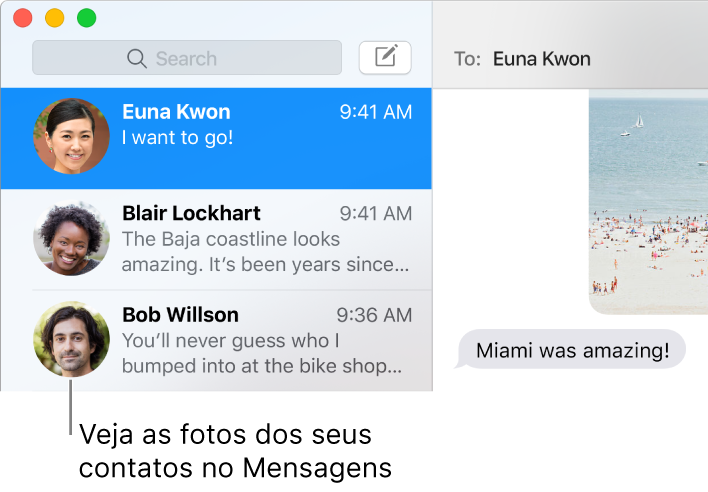Barra lateral do app Mensagens mostrando as imagens das pessoas ao lado dos seus nomes.