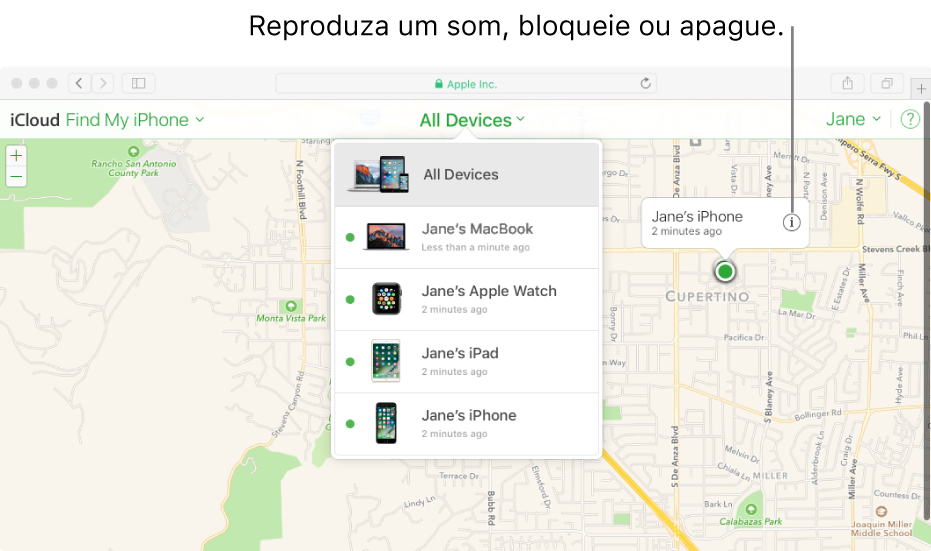 Um mapa do Buscar iPhone em iCloud.com, mostrando a localização de um Mac.
