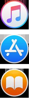 Ícones dos apps iTunes, App Store e iBooks